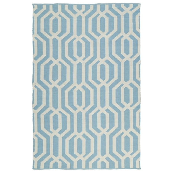 Indoor/Outdoor Laguna Spa Blue and Ivory Geo Flat-Weave Rug - 9' x 12'