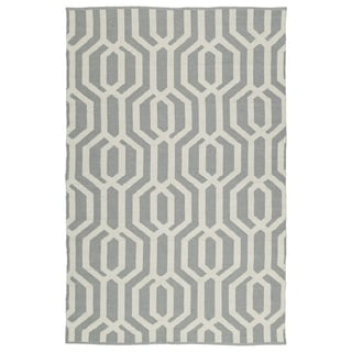 Indoor/Outdoor Laguna Grey and Ivory Geo Flat-Weave Rug (3'0 x 5'0) - 3' x 5'