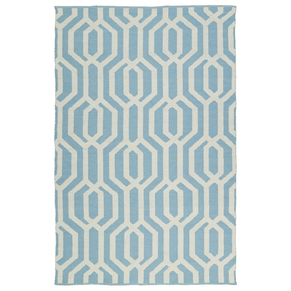 Indoor/Outdoor Laguna Spa Blue and Ivory Geo Flat-Weave Rug - 8' x 10'