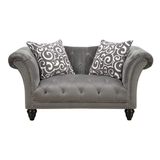 Hutton Grey Smoke Button Tufted Loveseat