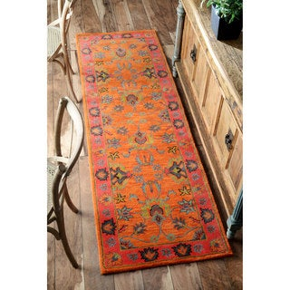 Gracewood Hollow Odyssey Handmade Overdyed Traditional Orange Wool Runner Rug (2'6 x 8')