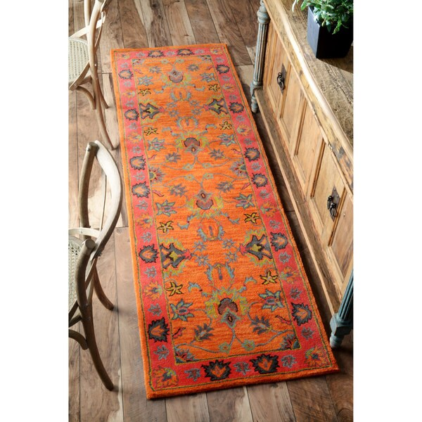 Nuloom Handmade Overdyed Traditional Orange Wool Runner