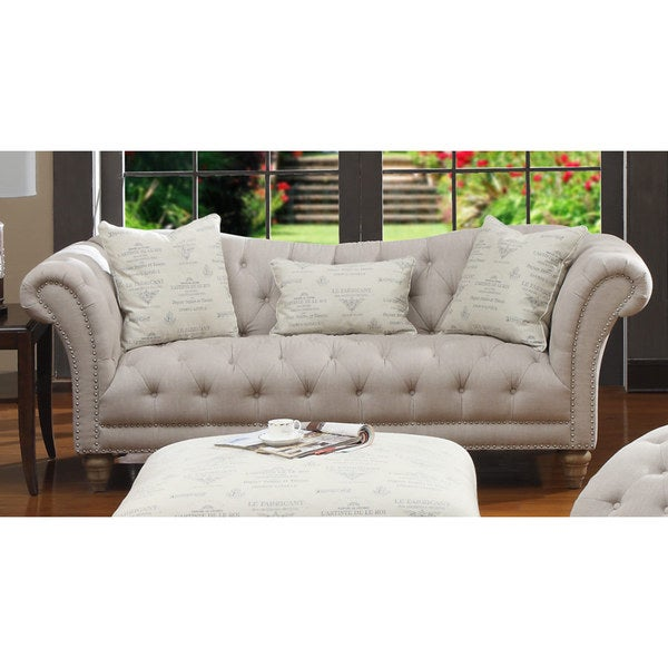Charmant Hutton Off White Linen Look Button Tufted Sofa