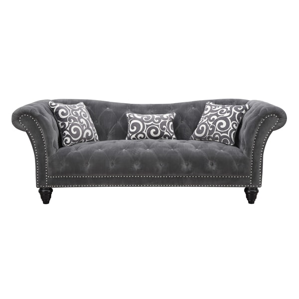 Hutton grey smoke button tufted sofa free shipping today for Button tufted chaise settee