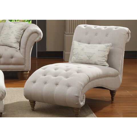Emerald Home Hutton Off-White Linen-Look Button Tufted Chaise
