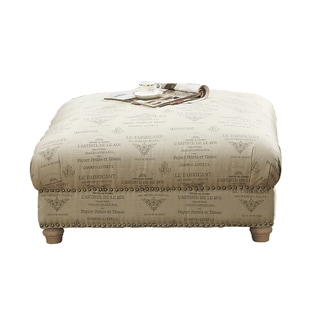 Hutton Off-White Linen-Look Accent Ottoman