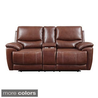 Leather Match Power Dual Reclining Console Loveseat