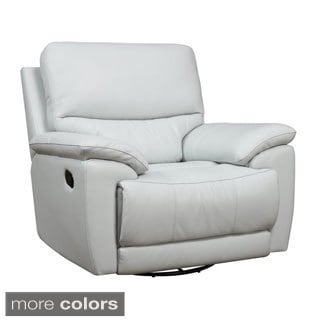 Leather Match Power Swivel Glider Recliner