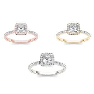 De Couer 14k Gold 3/4ct TDW Diamond Single Halo Engagement Ring