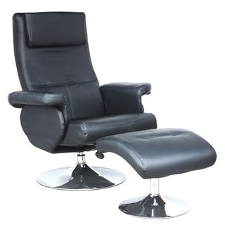 CorLiving Yalaha Leatherette Reclining Lounge Chair with Curved Ottoman