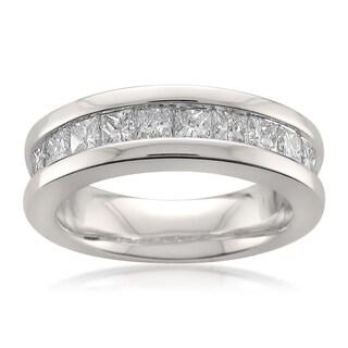 Montebello 14k White Gold 1 1/2ct TDW Princess-cut White Diamond Channel-set Wedding Band (G-H, SI1)