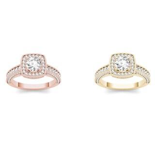 De Couer 14k Gold 1 1/2ct TDW Diamond Halo Engagement Ring