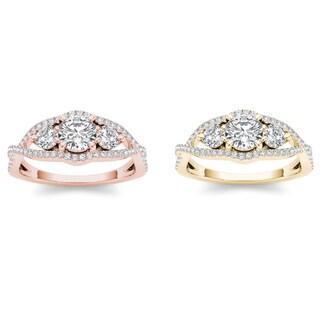 De Couer 14k Gold 1ct TDW Diamond Three Stone Engagement Ring