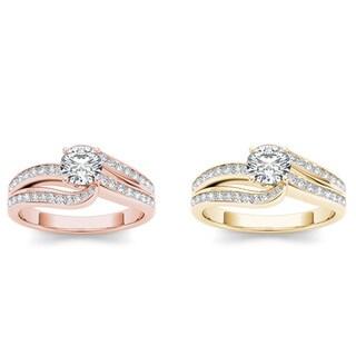 De Couer 14k Gold 3/4ct TDW Diamond Split-Shank Engagement Ring