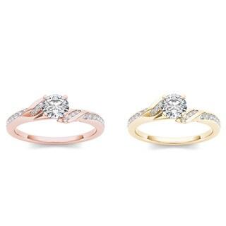 De Couer 14k Gold 3/4ct TDW Diamond Classic Engagement Ring