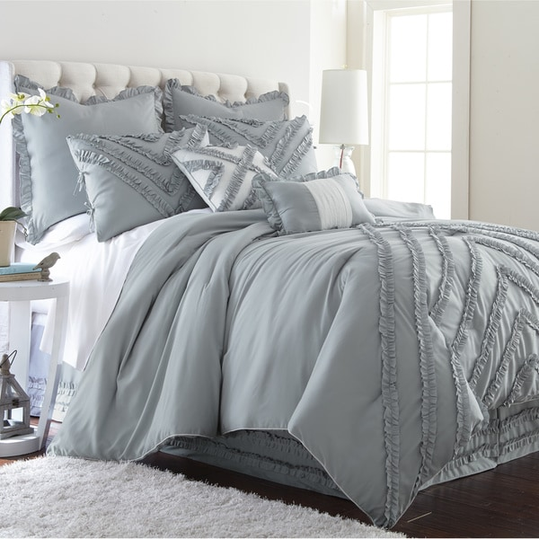 Amraupur Overseas Julianne 8-piece Grey Ruffles Comforter Set