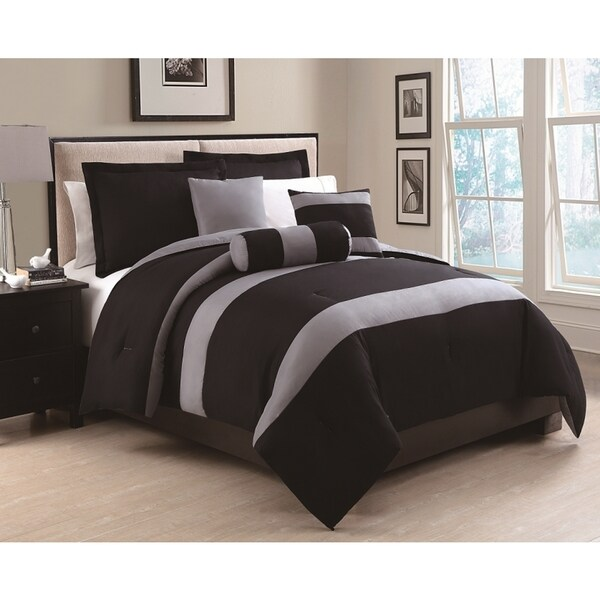 Tranquil Two Tone Black and Grey 6-piece Comforter Set