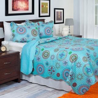Windsor Home Light Blue Starry Circles 3-Piece Quilt Set
