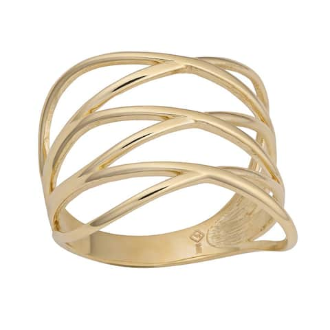 14k Yellow Gold Fashionable Highway Ring