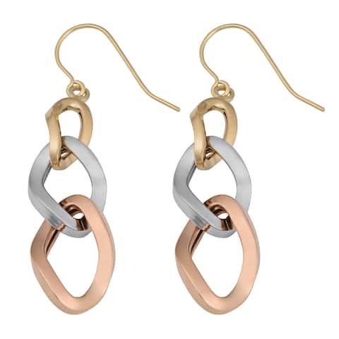 Fremada 14k Tricolor Gold High Polish Graduated Twist Ovals Dangle Earrings