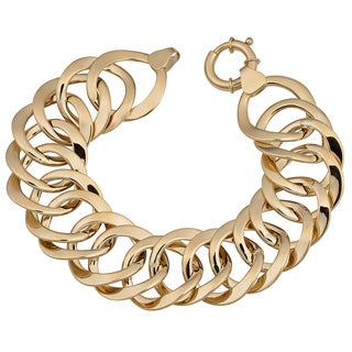 Fremada 14k Yellow Gold High Polish Bold Flat Round Link Bracelet