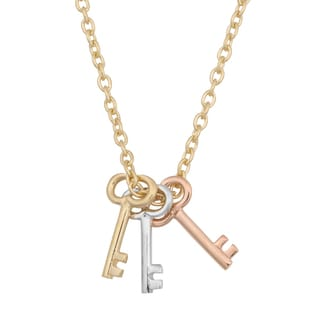 Fremada 14k Tricolor Gold High Polish Keys on Cable Chain Necklace