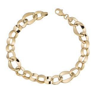Fremada 10k Yellow Gold Fancy Flat Figaro Bracelet