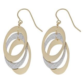 Fremada 14k Two-tone Gold Triple Oval Dangle Earrings