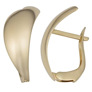 Fremada 14k Yellow Gold High Polish Omega Back Fan Design Earrings