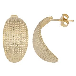 Fremada 14k Yellow Gold Diamond-cut Half Hoop Earrings