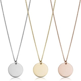 Fremada 14k Gold High Polish 10mm Round Disc Adjustable Necklace