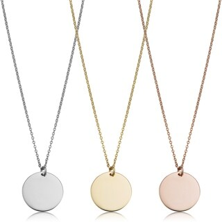 14k Gold High Polish Round Disc Adjustable Necklace (10 millimeters)