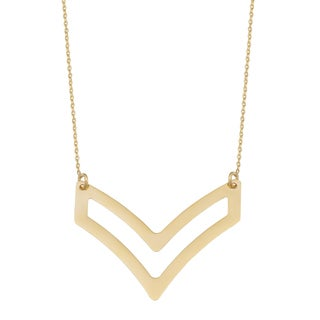 Fremada 14k Yellow Gold High Polish V Design Necklace