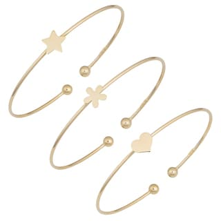 Fremada 14k Yellow Gold High Polish Cuff Bracelet (heart, flower or star)