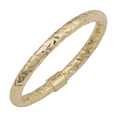 Fremada 14k Gold Stylish Diamond-cut Stackable Ring