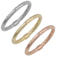 Fremada 14k Gold Stylish Diamond-cut Stackable Ring