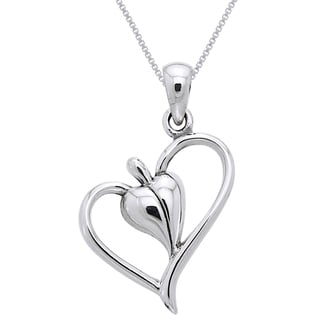 Carolina Glamour Collection Sterling Silver Leaf Heart Necklace