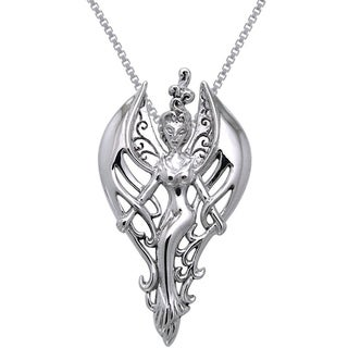 Carolina Glamour Collection Sterling Silver Elegant Swirl Angel Necklace