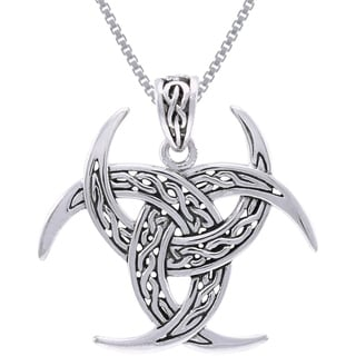 Sterling Silver Celtic Trinity Knot Triple Crescent Moon Necklace