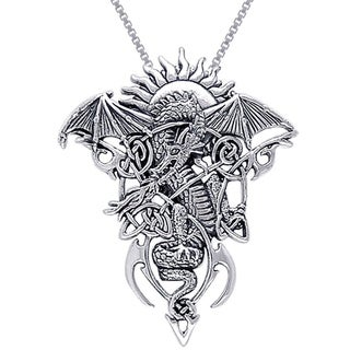 Sterling Silver Celtic Knotwork Fire Dragon Necklace