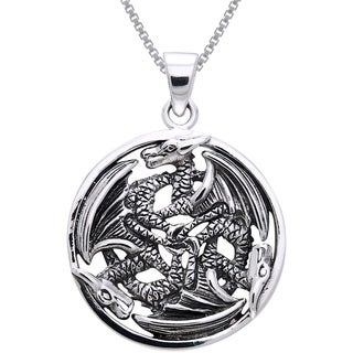 Sterling Silver Triple Trinity Dragon Circle Necklace