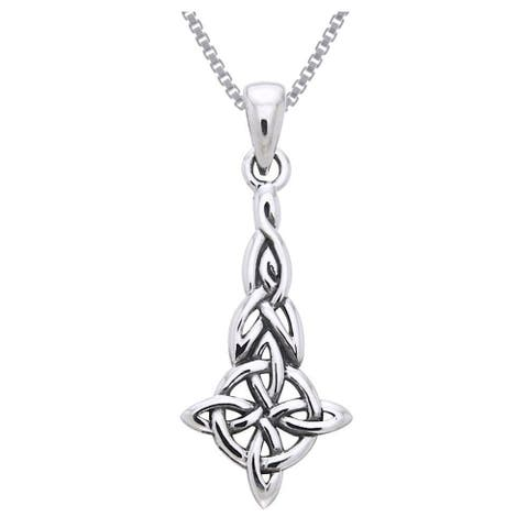 Sterling Silver Celtic Good Luck Quaternary Knot Necklace