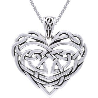 Carolina Glamour Collection Sterling Silver Celtic Lace Heart Necklace