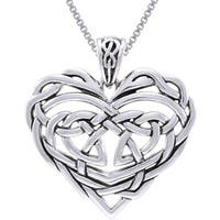 Sterling Silver Celtic Lace Heart Necklace