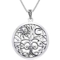 Sterling Silver Celtic Sun Moon Tree of Life Necklace