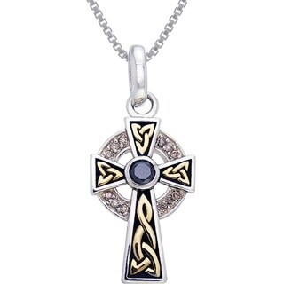 Sterling Silver Celtic Cross Cubic Zirconia Goldplated Accents Necklace