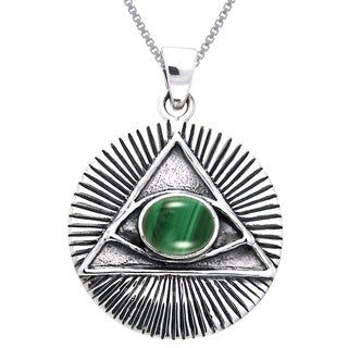 Carolina Glamour Collection Sterling Silver Eye of Horus Created Malachite Necklace