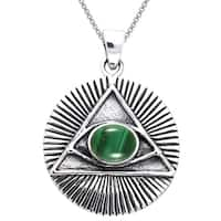 Sterling Silver Eye of Horus Created Malachite Necklace