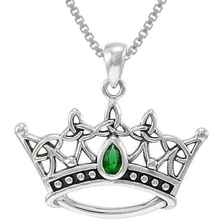 Carolina Glamour Collection Sterling Silver Celtic Triquetra Princess Crown Emerald Green Glass Crystal Necklace
