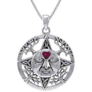 Carolina Glamour Collection Sterling Silver Winter Sun Face Celtic Medallion Heart Crystal Necklace